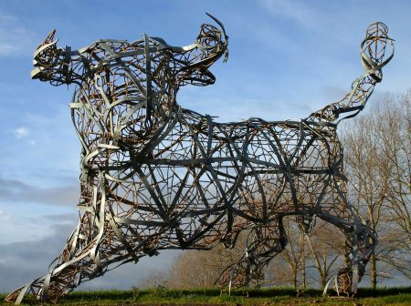 bull sculpture with tapered bands