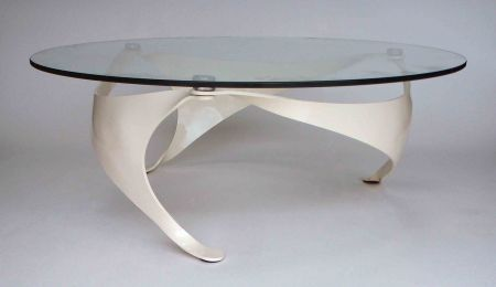 cream finish trisail table. side view