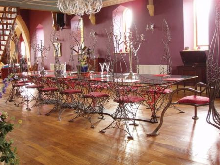 webbed steel table and chairs