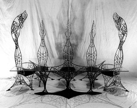 gothic table and chairs. alternate view