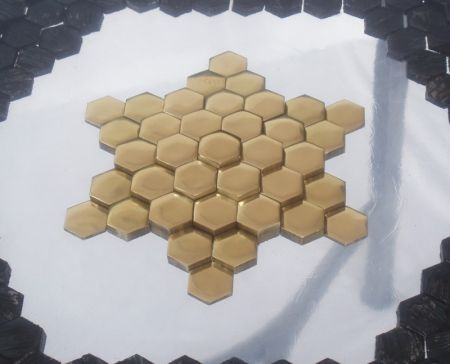 hexagons of brass and steel table